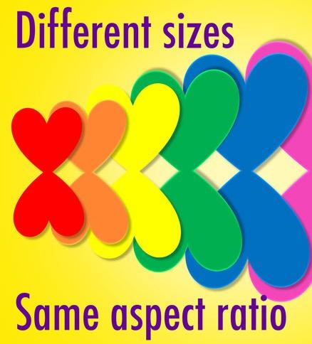 نسبت تصویر یکسان و اندازه متفاوت